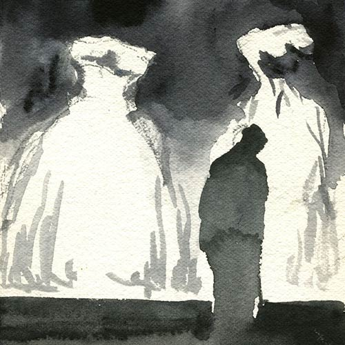 Coutts - Second Night Drawing, gouache